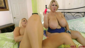 Huge titted blond Samantha with KarenFisher workout their asses